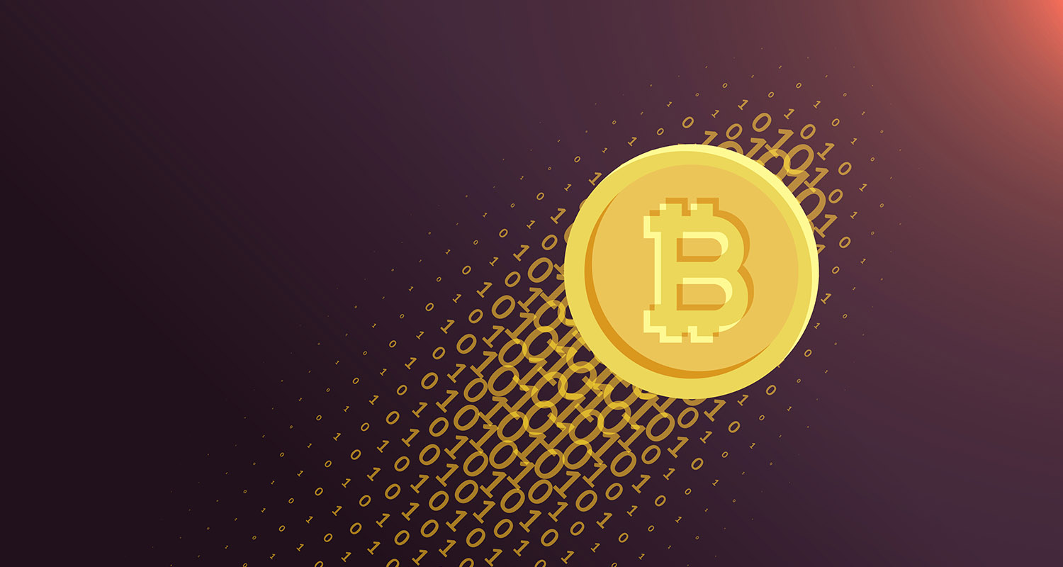 digital internet currency bitcoin vector background